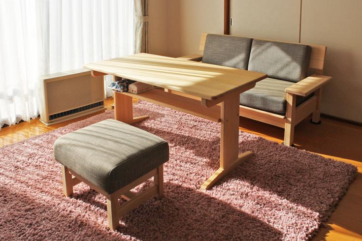 ヒノキベンチテーブル棚付お客様使用例