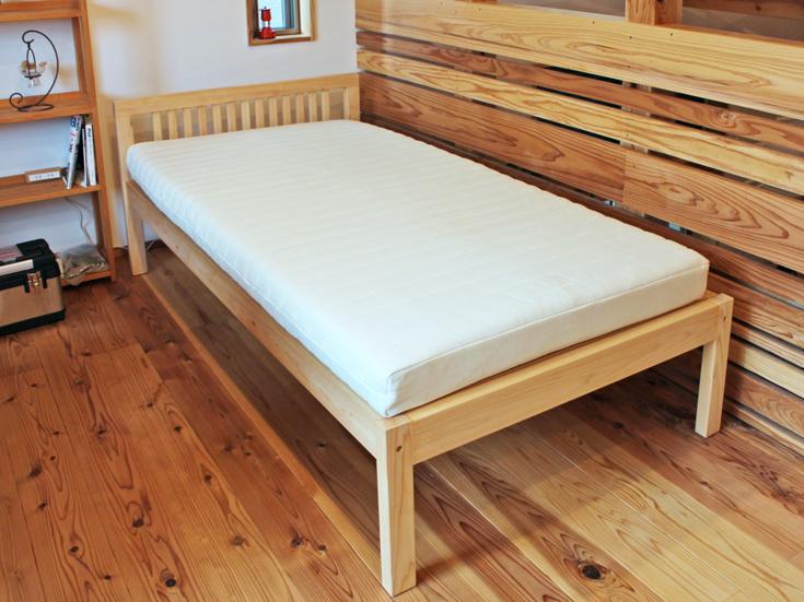 檜フラットシングルベッドとラテックスマット