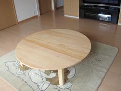 オーダーヒノキ丸テーブル製作実例