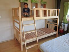 オーダーヒノキ二段ベッド製作実例