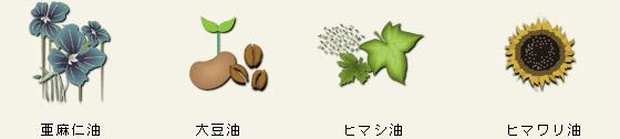 亜麻仁油、大豆油、ヒマシ油、ヒマワリ油