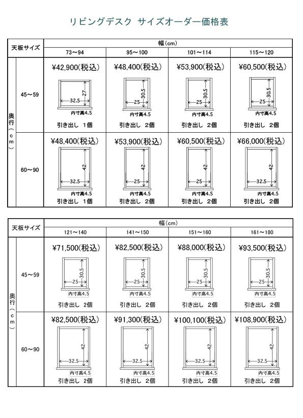 サイズオーダーフィットデスク詳細サイズ