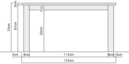 ナチュラルテーブル詳細サイズ