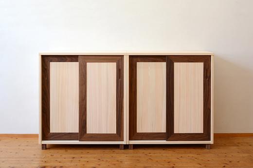 ヒノキとウォールナットの収納庫製作実例
