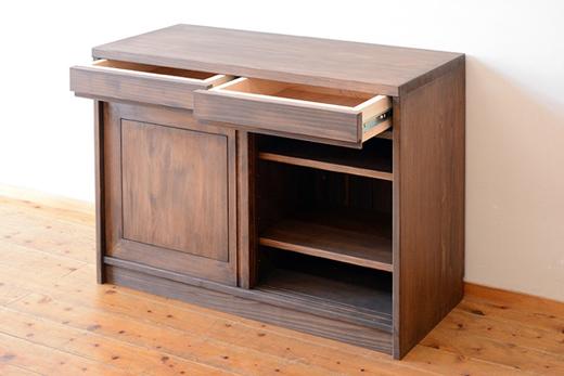 ひのき引き戸食器収納製作実例