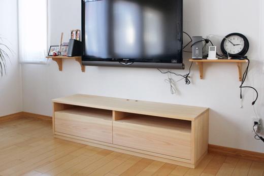 オーダーヒノキ引出し付きテレビボード製作実例