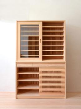 ひのき格子戸食器戸棚製作実例