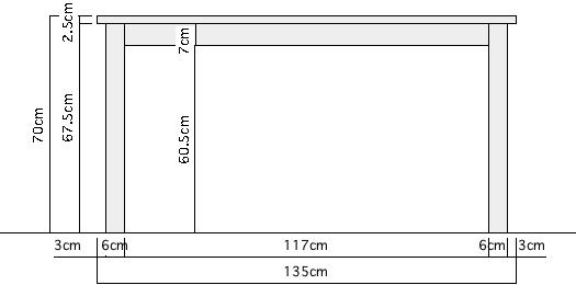 プレーンテーブル詳細サイズ