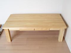 オーダーヒノキローテーブル節無し天板製作実例