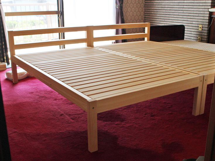 ひのき棚付きセミダブルベッドお客様使用例