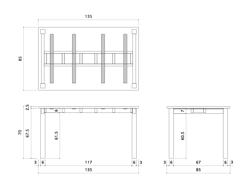 シンプルテーブル詳細サイズ