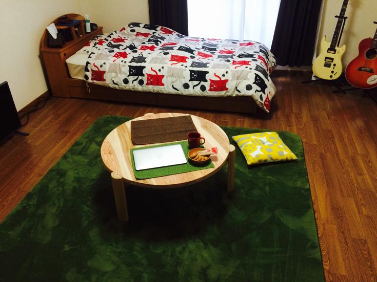 杉の丸テーブルお客様使用例